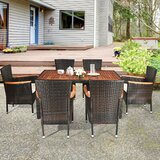 Adahir Patio Garden 7 Piece Dining Set with Cushions