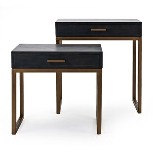 Everly Quinn Arcade Spacious Mango Wood 2 Piece End Table with Storage (Set of 2)