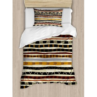 Tribal Ethnic African with Trippy Geometric Forms Primitive Heritage Wild Earthen Pattern Duvet Cover Set