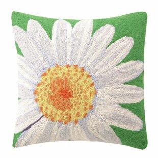 White Daisy Wool Throw Pillow