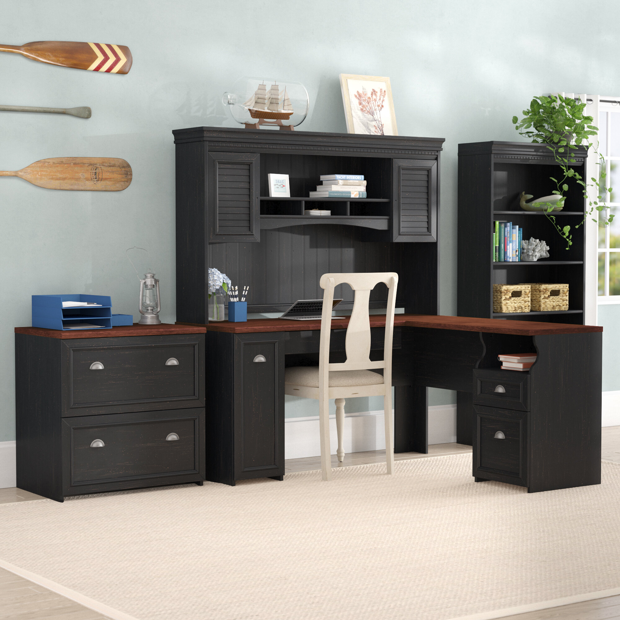 l desk office. beachcrest home oakridge 4 piece l-shaped desk office suite \u0026 reviews | wayfair l e