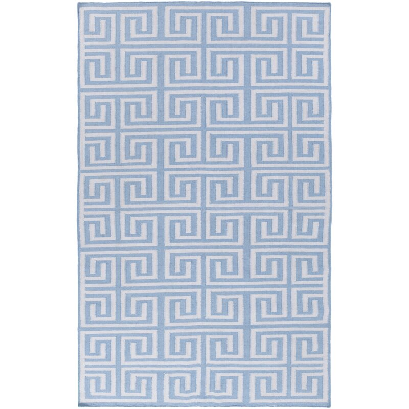 Charlton Home Larksville Geometric Handwoven Light Blue Indoor Outdoor Area Rug Wayfair