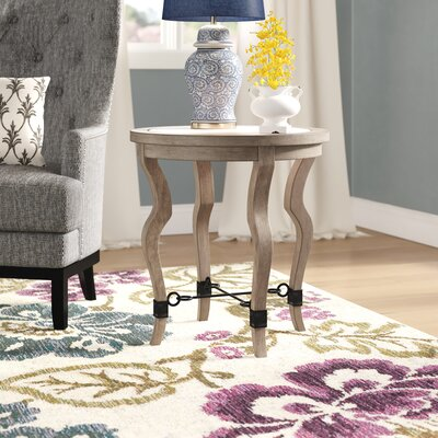 Rhys Travertine End Table Gracie Oaks
