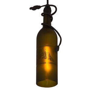 Meyda Tiffany Tuscan Vineyard Etched Grapes Wine Bottle 1-Light Geometric Pendant