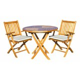 Wolfe 3 Piece Teak Bistro Set with Sunbrella Cushions