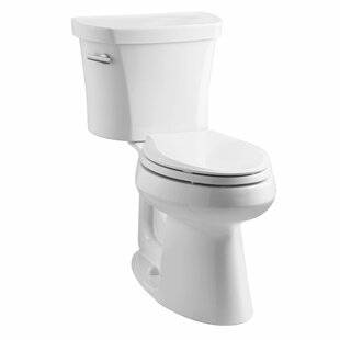 Kohler Highline Comfort Height Two-Piece Elongated 1.28 GPF Toilet with Class Five Flush Technology, Left-Hand Trip Lever and Tank Cover Locks