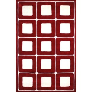 Compare Modern Living Deco Blocks Red/White Rug ByAmerican Home Rug Co.