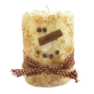 Snowman Primitive Scented Pillar Candle