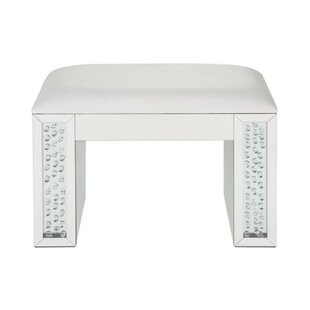 Norberto Mirrored Rectangular Wooden Vanity Stool by Everly Quinn