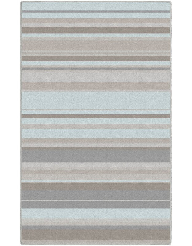 Winston Porter Isabell Traditional Pastel Striped Blue Area Rug, Size: Rectangle 76 x 10