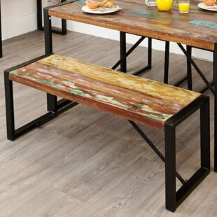 Tejas Wood/Metal Dining Bench By World Menagerie