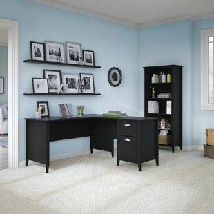 L-Shape Credenza desk with Bookcase