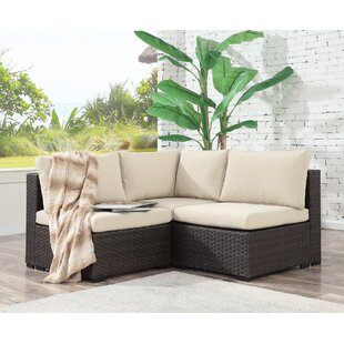 Groovy Holliston 3 Piece Rattan Sectional Seating Group With Cushions Machost Co Dining Chair Design Ideas Machostcouk