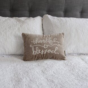 Horsforth Thankful & Blessed Velvet Lumbar Pillow