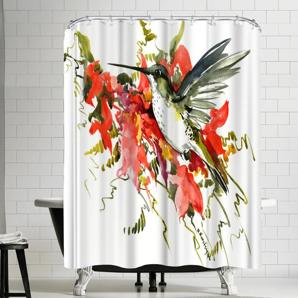 East Urban Home Suren Nersisyan Hummingbird And Tropical Foliage Single Shower Curtain Wayfair