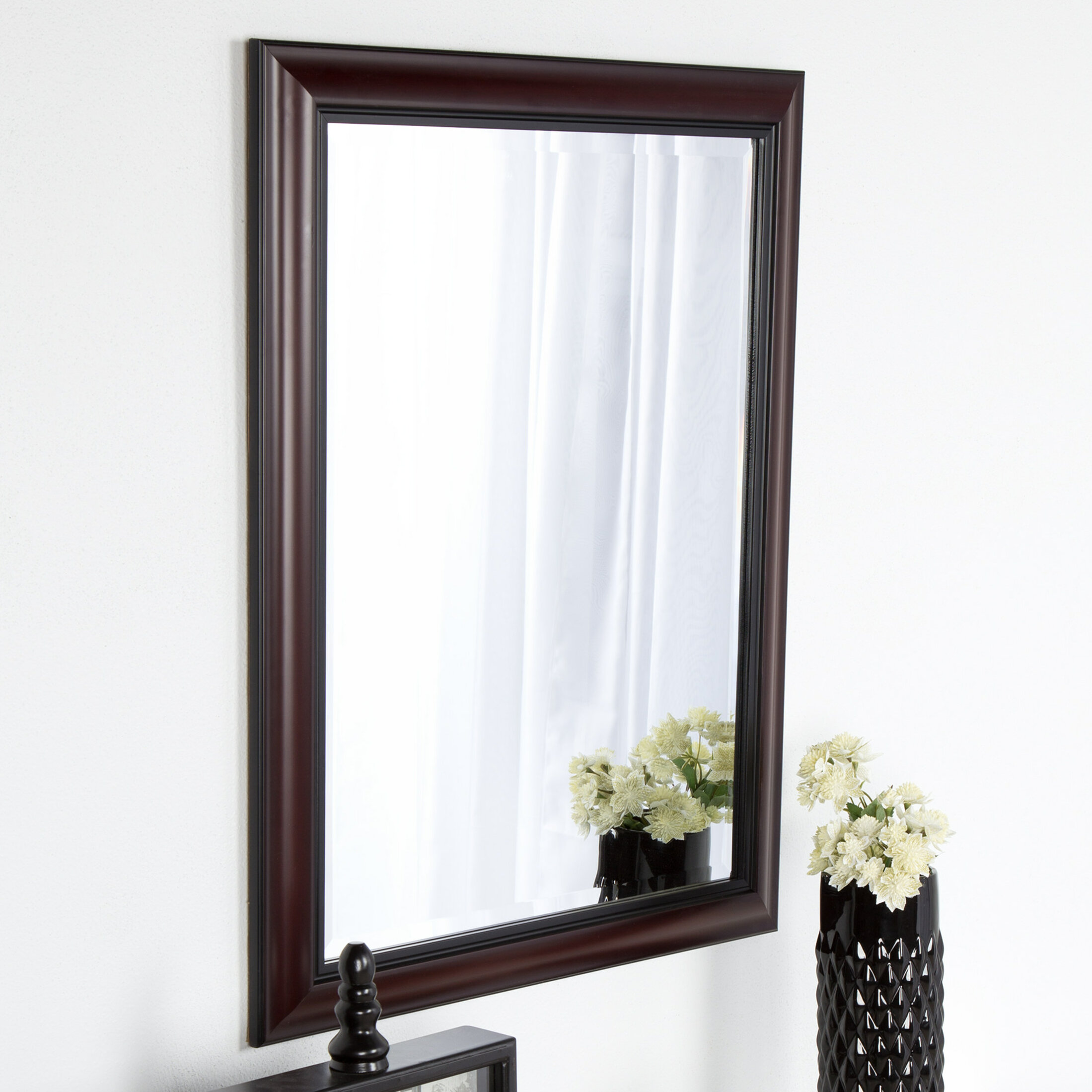 Dsov Dalat Cherry Framed Vanity Beveled Wall Mirror Reviews Wayfair