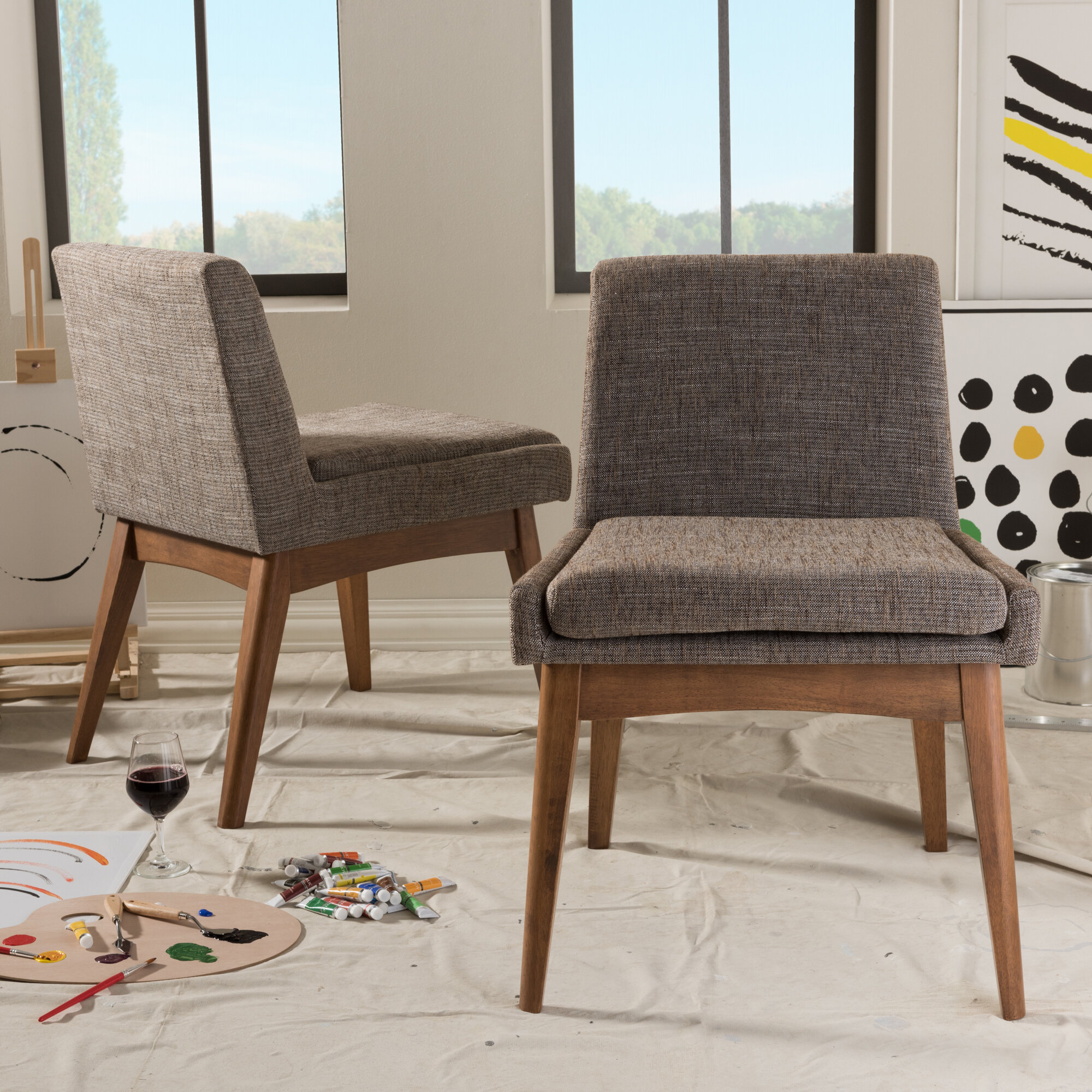 Stupendous Stallman Mid Century Modern Upholstered Dining Chair Gmtry Best Dining Table And Chair Ideas Images Gmtryco