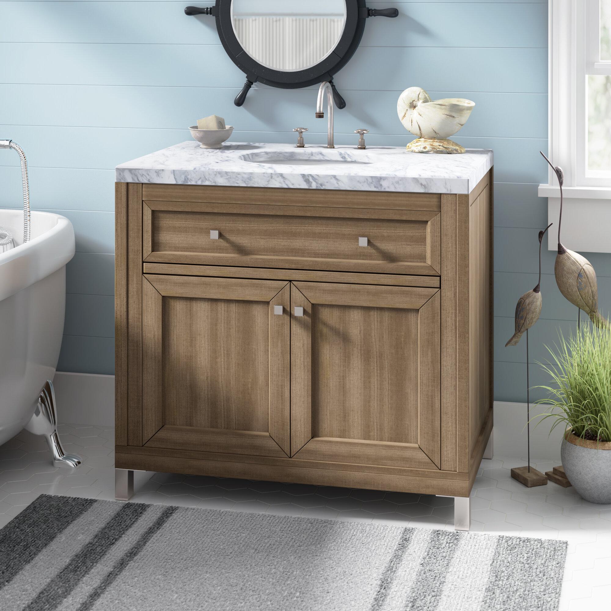 Picture of: Brayden Studio Whitworth 36 Wall Mounted Single Bathroom Vanity Set
