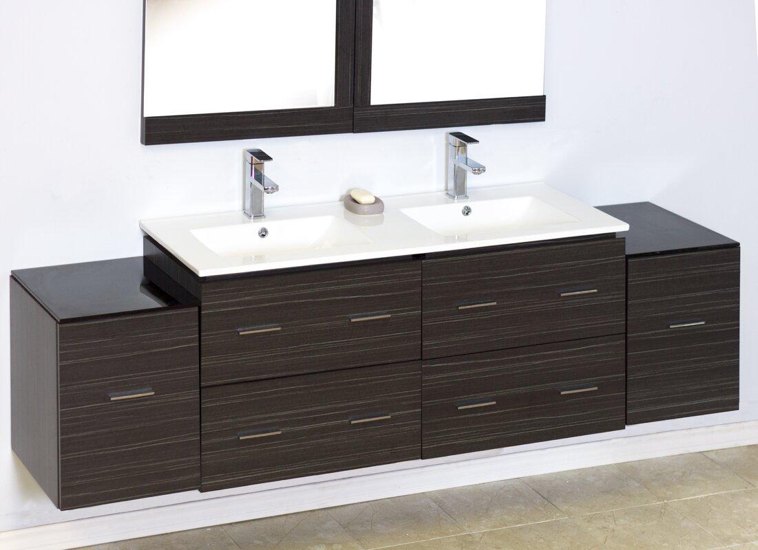 76  Double Modern Wall Mount Bathroom Vanity Set. American Imaginations 76  Double Modern Wall Mount Bathroom Vanity