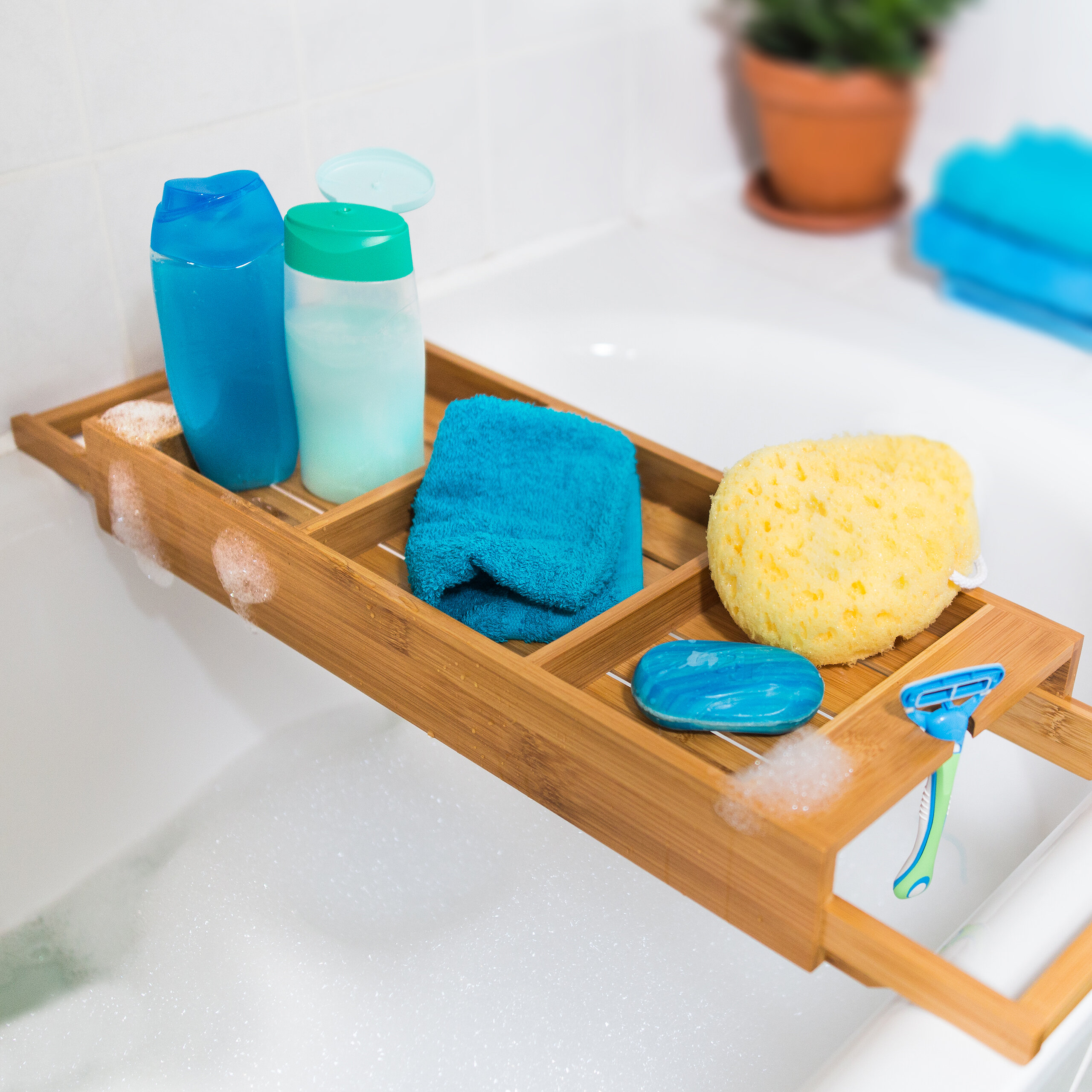 Relaxdays Bamboo Bathroom Caddy Tub Tray & Reviews | Wayfair.co.uk