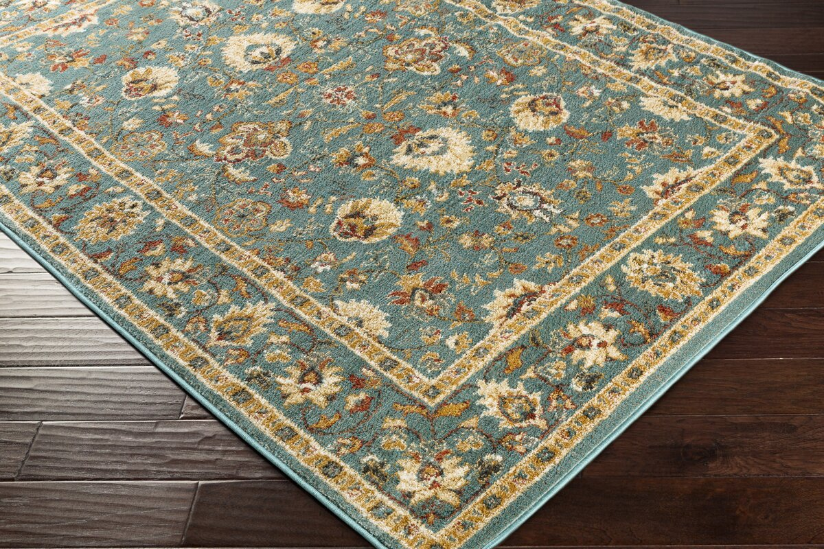 Ea Teal Gold Area Rug