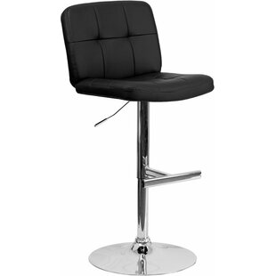 Whelan Mid Back Tufted Adjustable Height Swivel Bar Stool Orren Ellis