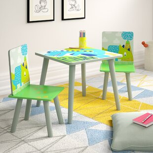 RAWRR Children's 3 Piece Square Table and Chair Set by Kidsaw