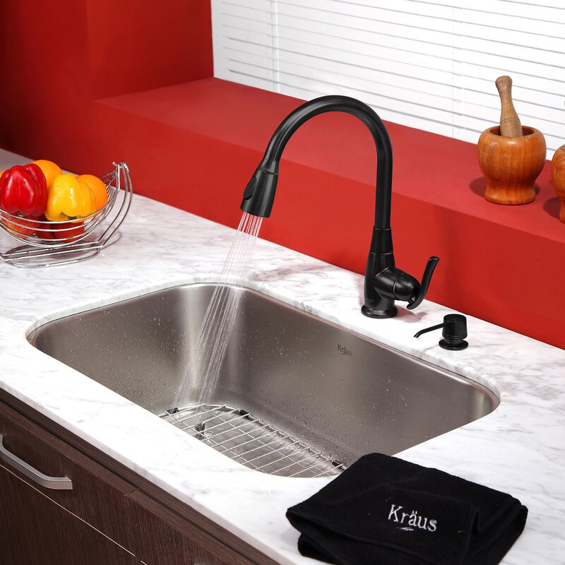 "Undermount Kitchen Sinks And Faucets kraus kitchen combos 31.5"" x 18.38"" undermount kitchen sink with"