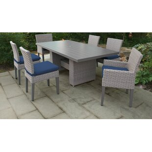 TK Classics Monterey 7 Piece Outdoor Patio Dining Set with Cushions