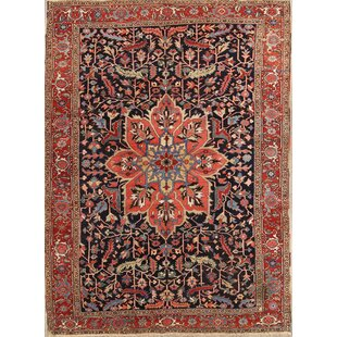 One-of-a-Kind Mccombs Heriz Serapi Persian Hand-Knotted 8'9 x 12'1 Wool Blue/Red/Black Area Rug Isabelline