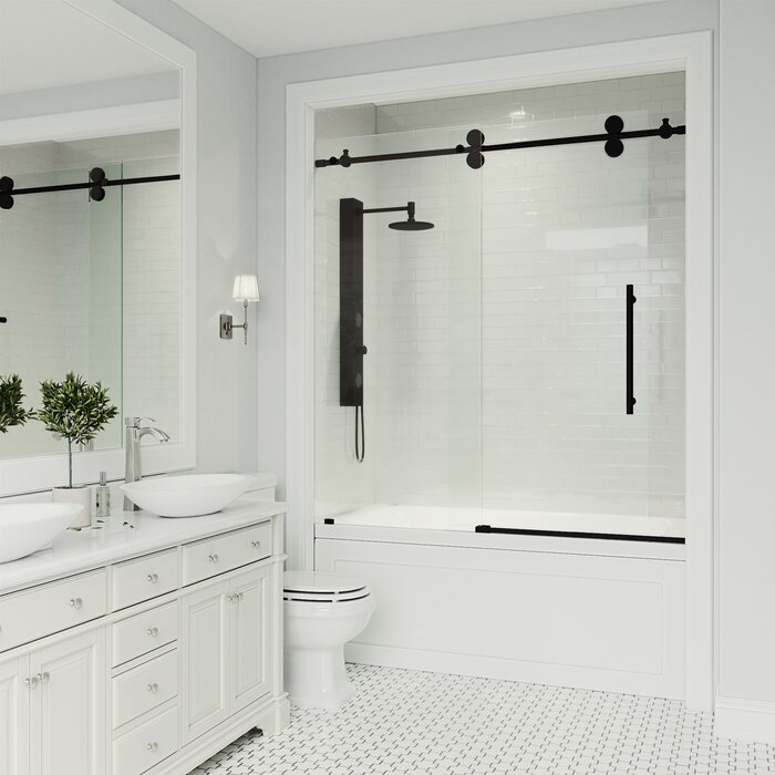 Elan 60 X 66 Single Sliding Frameless Tub Door With Rollerdisk Technology