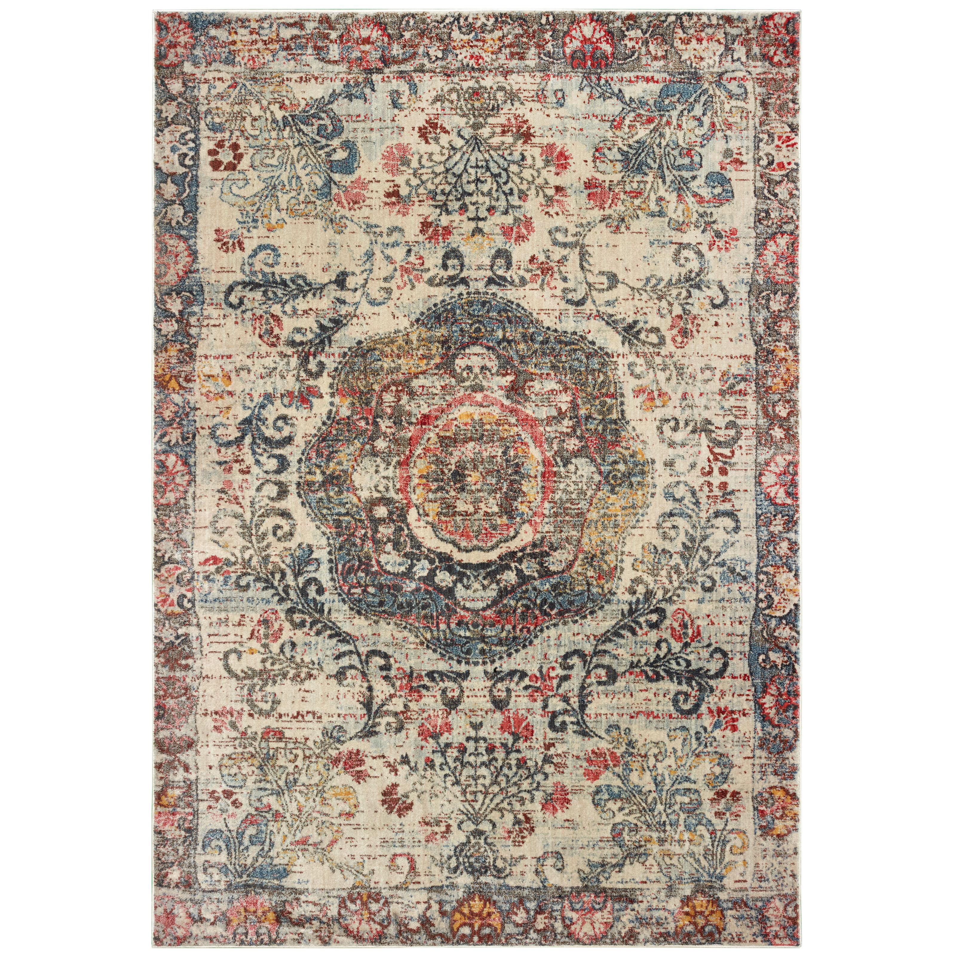 World Menagerie Pateros Power Loom Ivory Green Rug Wayfair
