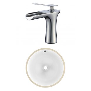 Compare CSA Ceramic Circular Undermount Bathroom Sink with Faucet and Overflow By American Imaginations