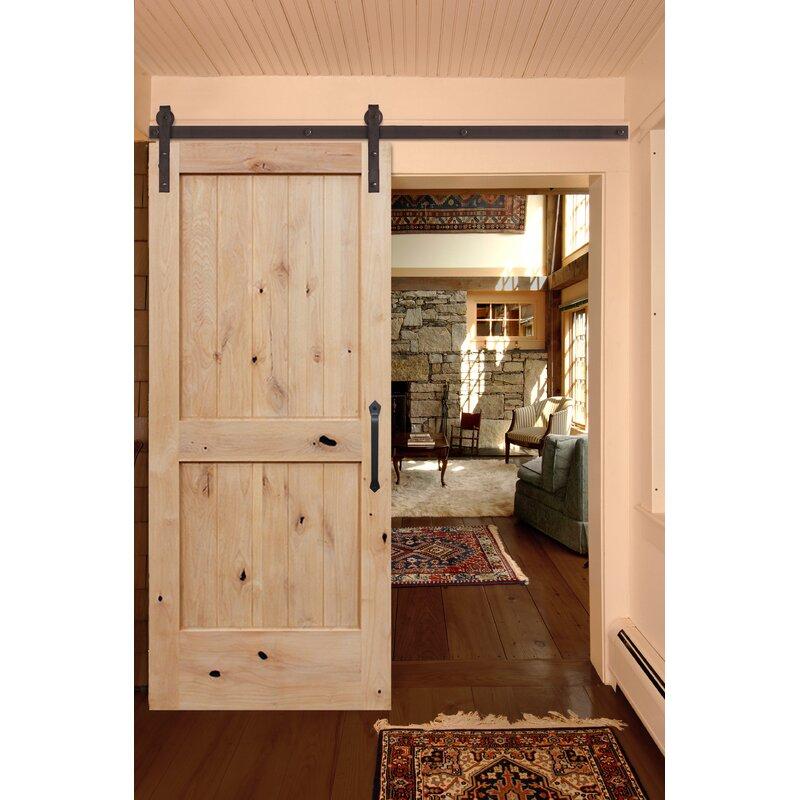 Creativeentryways Paneled Wood Unfinished Rustic Knotty Alder Barn Door With Installation Hardware Kit Wayfair