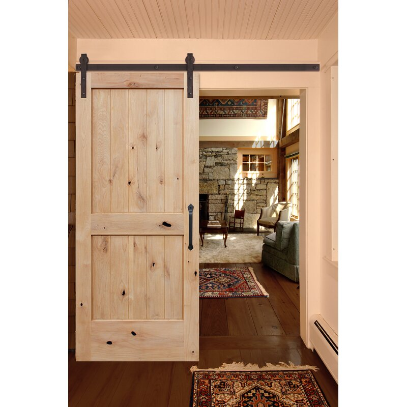 Rustic Knotty Alder Unfinished 2 Panel Solid Panelled Wood Interior Barn  Door