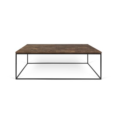 Brayden Studio Soltane Coffee Table Table Base Color: Black Lacquered Steel, Table Top Color: Walnut