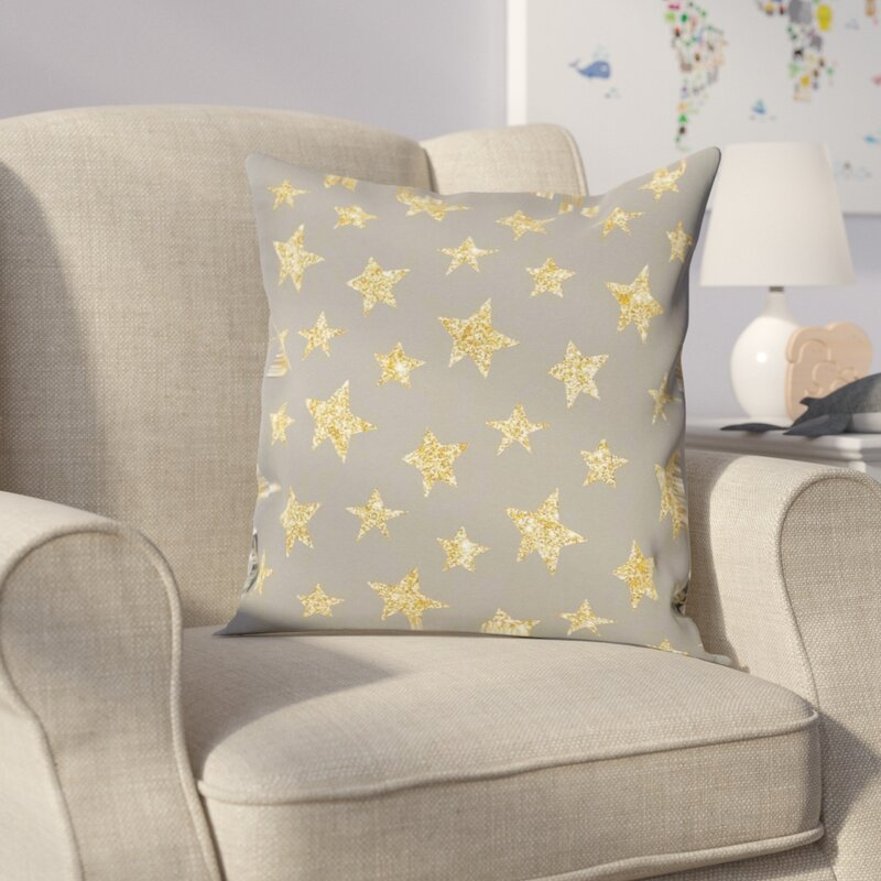 Gemma Violet Aaliyah Gold Stars Pattern Throw Pillow Reviews Wayfair