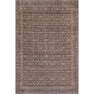 One-of-a-Kind Antique Tabriz Handwoven Wool Tobacco Brown Indoor Area Rug by Mansour