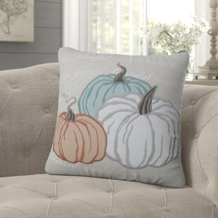 Delancey Natural Pumpkins Appliqued Harvest Throw Pillow