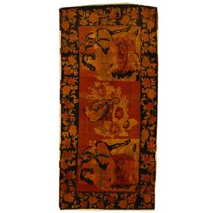 Best One-of-a-Kind Gasconade Hand-Knotted Runner 4'4 x 9'3 Wool Orange Area Rug By Isabelline
