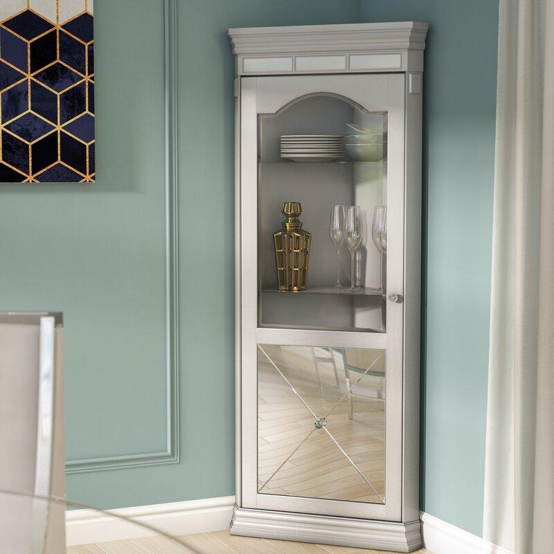 Delightful Adriana Lighted Corner Curio Cabinet