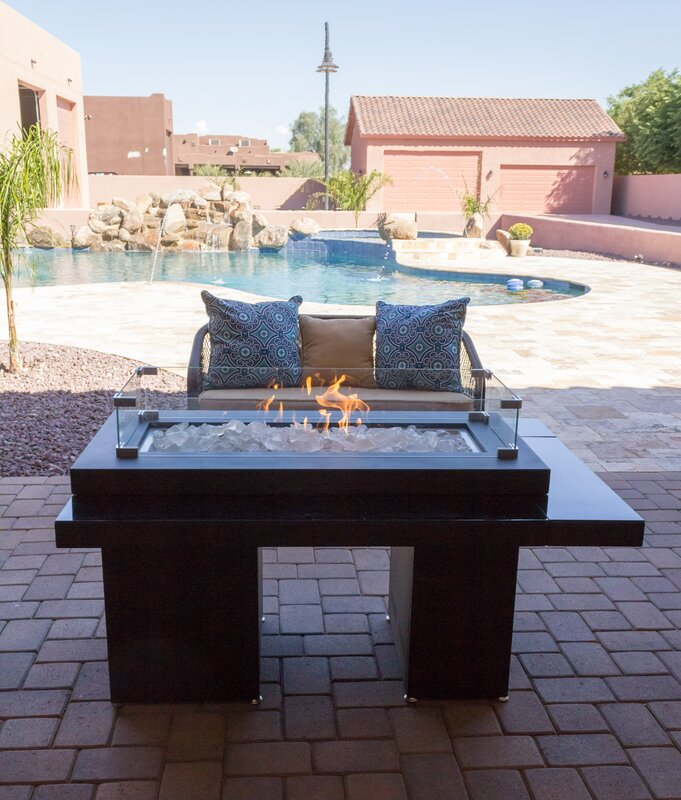 Glass/Metal Propane Fire Pit