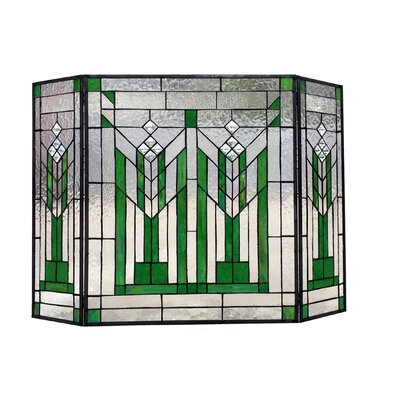 Benjamin Mission Folding 3 Panel Glass Fireplace Screens Chloe Lighting