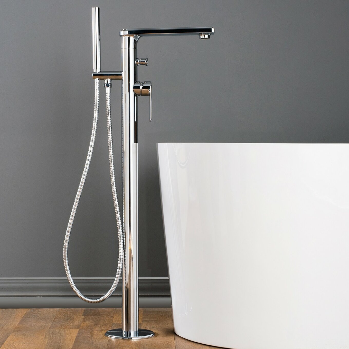 Maykke Adalbert Single Handle Floor Mounted Bath Faucet & Reviews ...