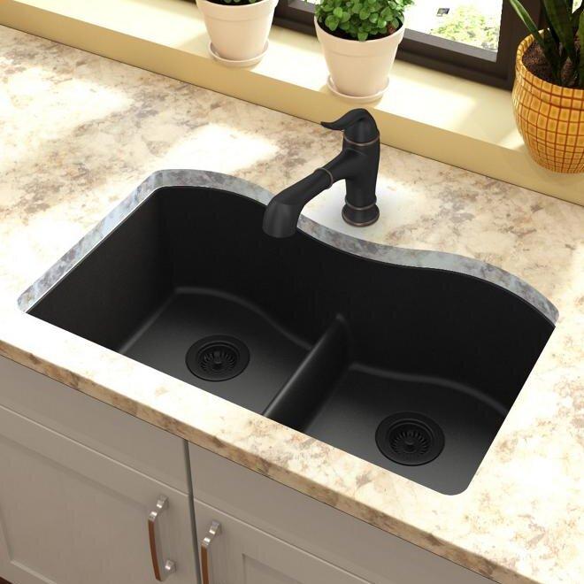 quartz classic 33   x 20   double basin undermount kitchen sink with aqua divide elkay quartz classic 33   x 20   double basin undermount kitchen      rh   wayfair com