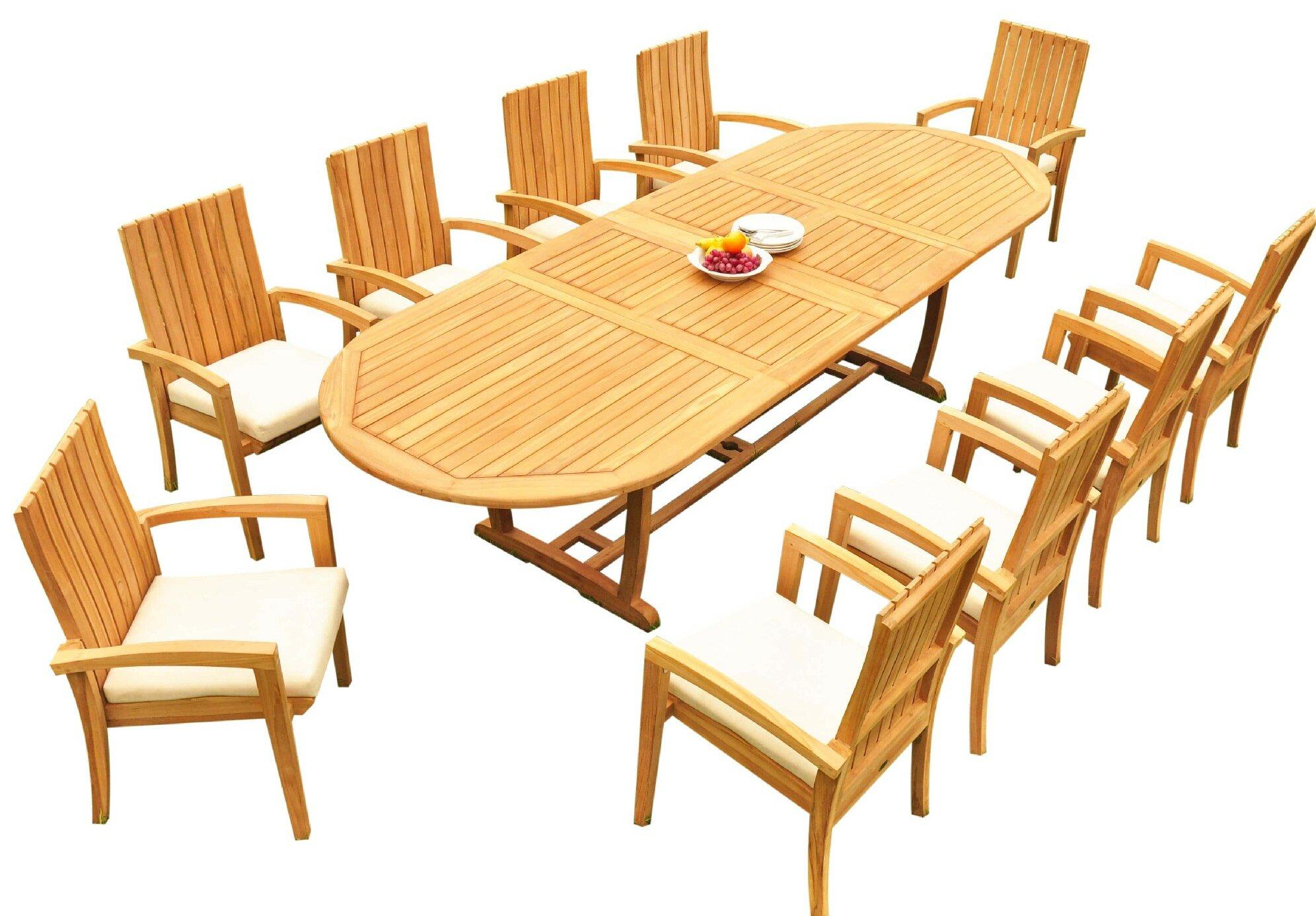 Bayou Breeze Williamson 11 Piece Teak Dining Set Wayfair