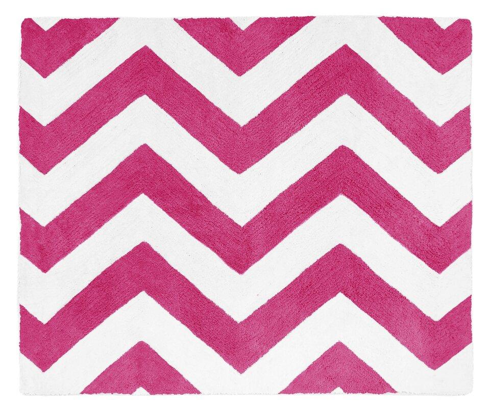 Chevron Hot Pink White Area Rug