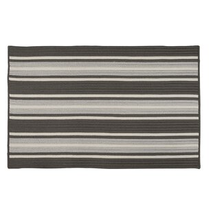 Madalynn Stripe Stone Hand-Braided Gray Indoor/Outdoor Area Rug by Breakwater Bay