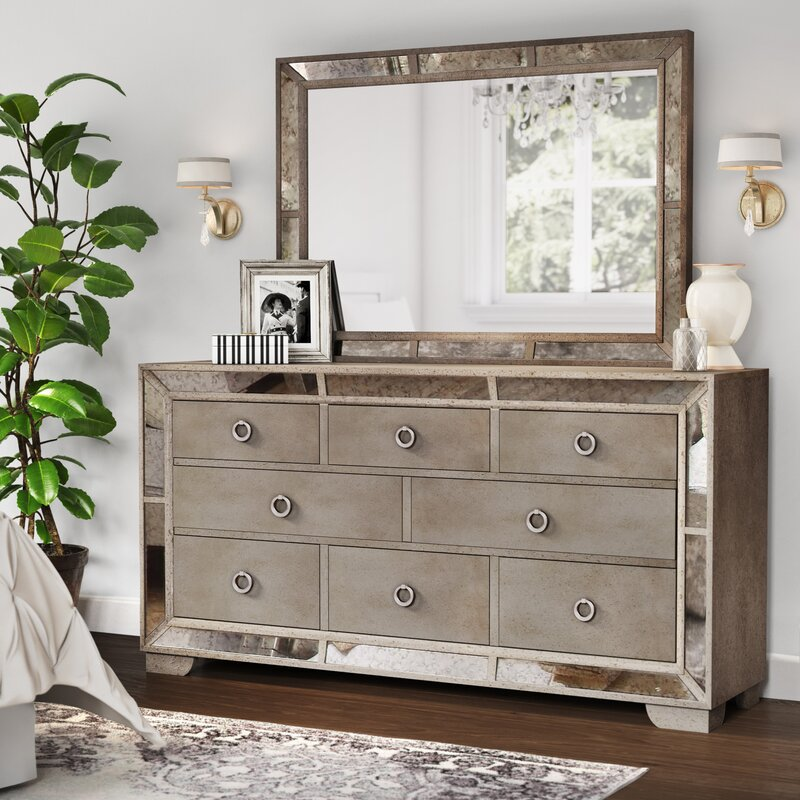 Willa Arlo Interiors Dowson 8 Drawer Dresser With Mirror Wayfair