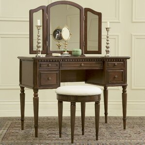 Awesome Warm Cherry Vanity Set With Mirror